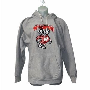 Tops - University of Wisconsin Madison Badgers Gray Hoodi